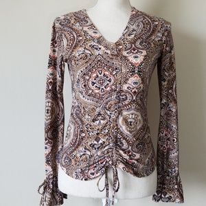 Ruched Front Print Blouse